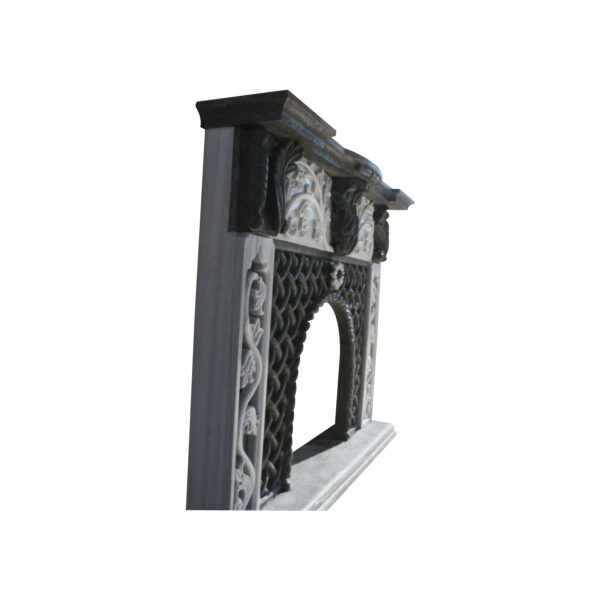 Black Basalt and Marble Fireplace