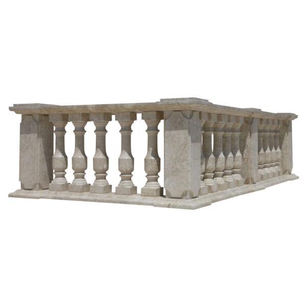 Glazed polished Crema Marfil LimeStone Balustrade Pillars