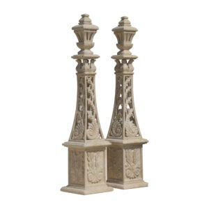 Glazed polished Hand Carved Dark Yellow Limestone Tower
