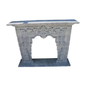 Glazed polished Grey Marble Fireplace