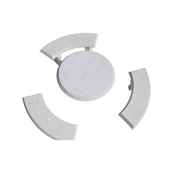 Glazed polished White Limestone Round Table and 3 Bench Set