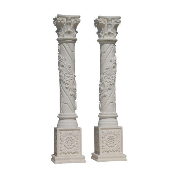 Glazed polished White Limestone Column