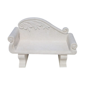 Glazed polished White Limestone Garden Sofa