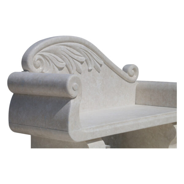 Glazed polished White Limestone Garden Sofa