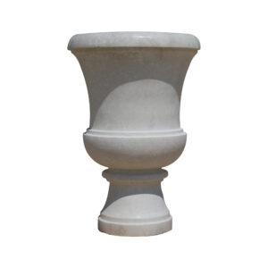 Glazed polished White Limestone Urn urns, planters, vases