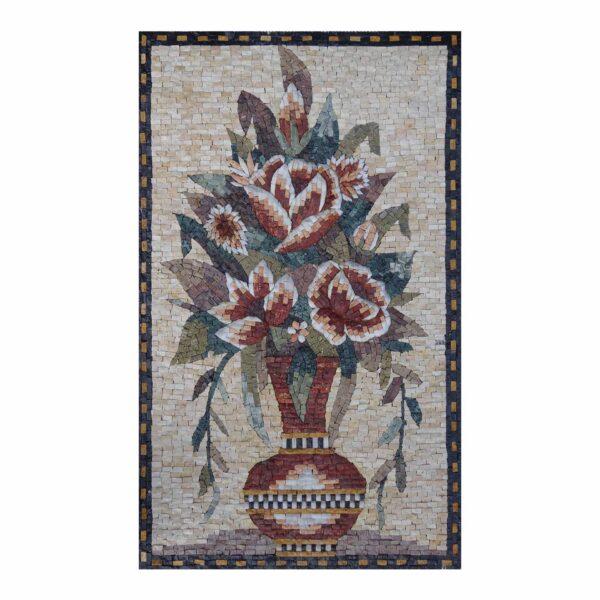 Global Multicoloured Flowers Vase Marble Stone Mosaic Art