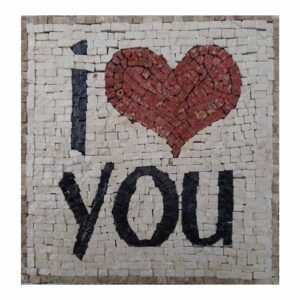 I Love You (Dark) Marble Stone Mosaic Art