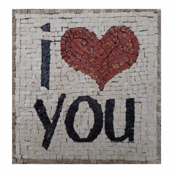 I Love You (Dark) Marble Stone Mosaic Art