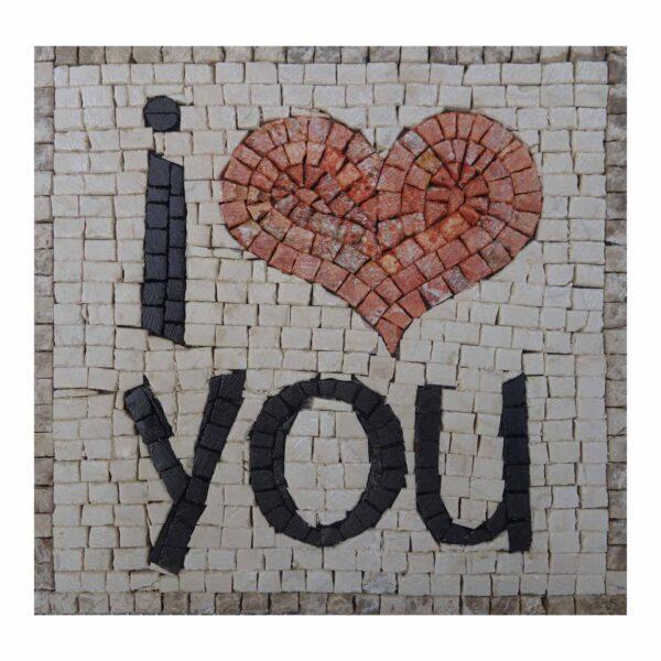 I Love You Marble Stone Mosaic Art