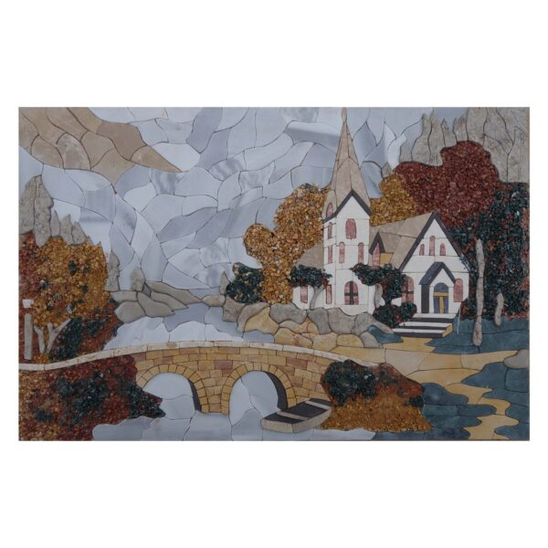 House In The Mountains Marble Stone Mosaic Art