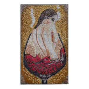 Naked and Drowning in Wine Marble Stone Mosaic Art