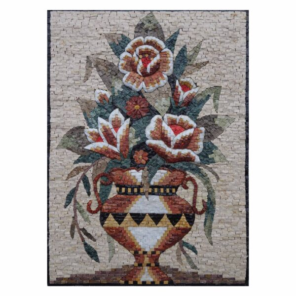 Large Multicoloured Flowers Vase Marble Stone Mosaic Art