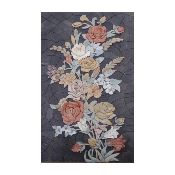 Long Flowers Branch Marble Stone Mosaic Art