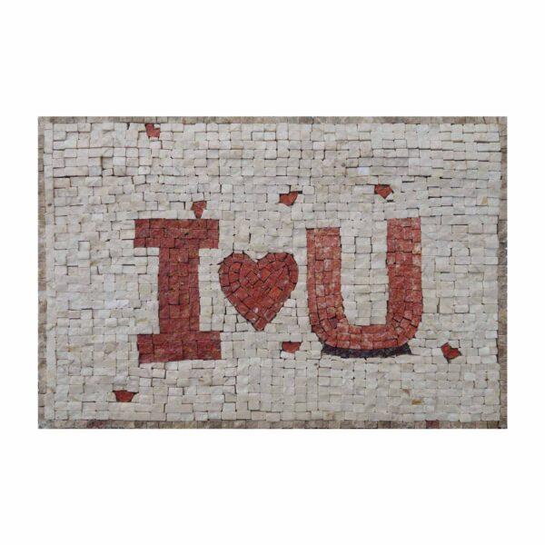 I Love U Expressive Letters Marble Stone Mosaic Art
