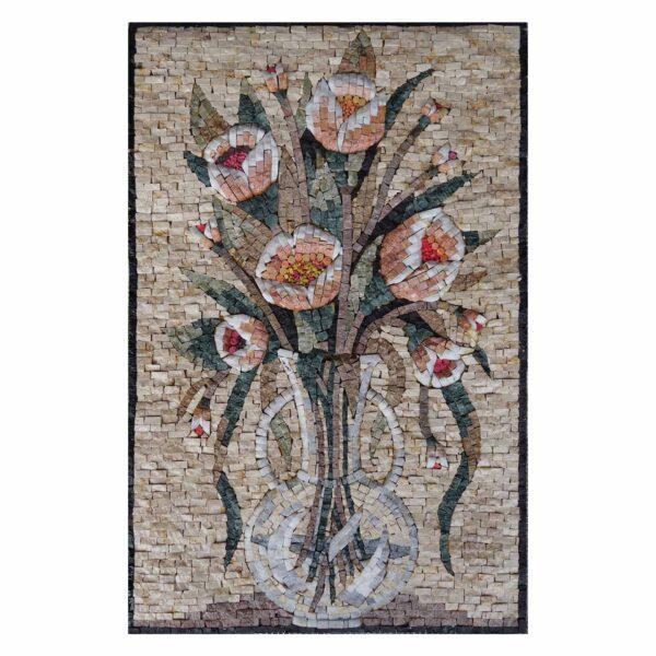 Lucent bright flowers vase Marble Stone Mosaic Art