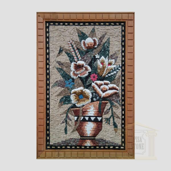Oriental Flower Vase Marble Stone Mosaic Art