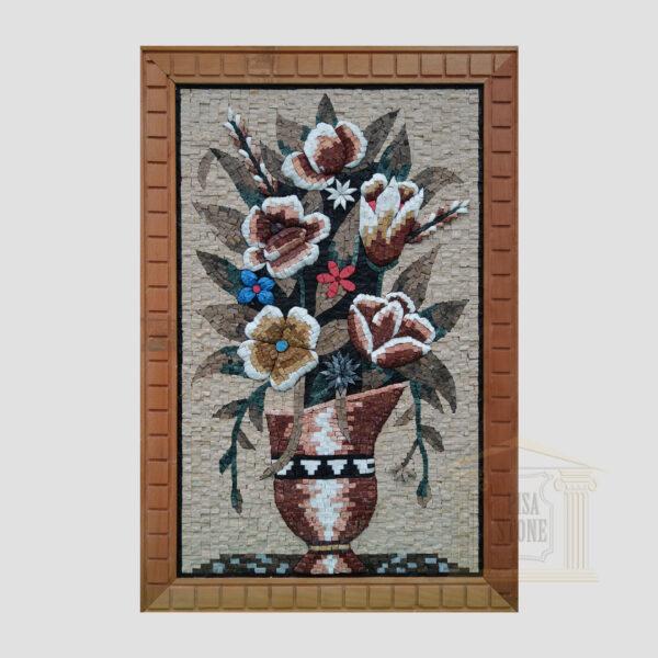 Oriental Flower Vase Marble Stone Mosaic Art- V2