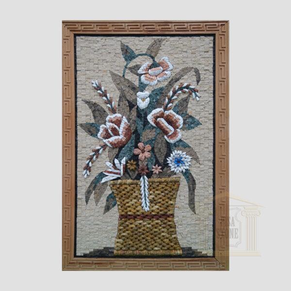 Flower Basket Marble Stone Mosaic Art