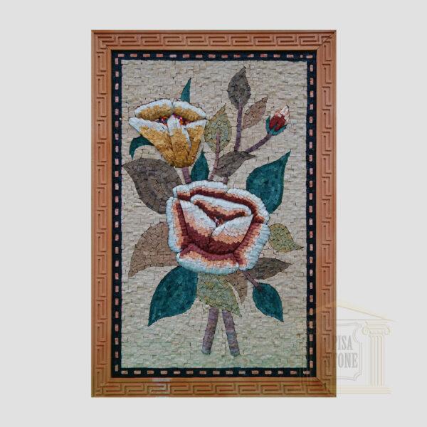 Spring Flowers Marble Stone Mosaic Art
