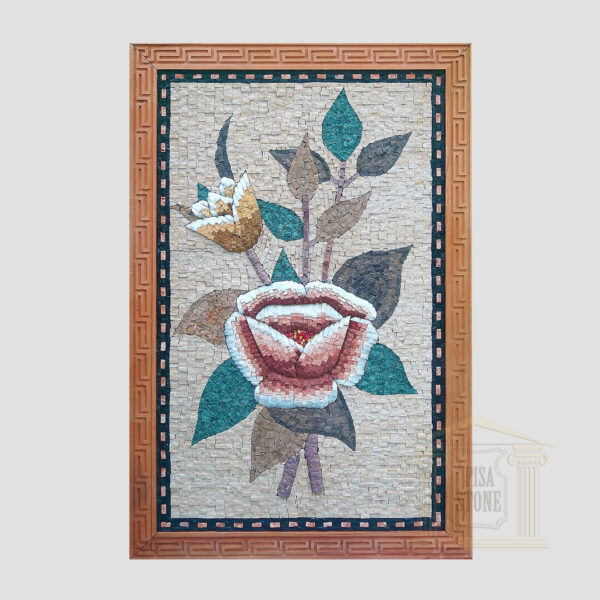 Two Flowers Marble Stone Mosaic Art