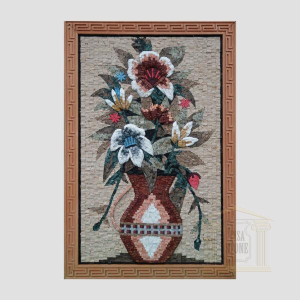 Large Olpe Flower Vase Marble Stone Mosaic Art