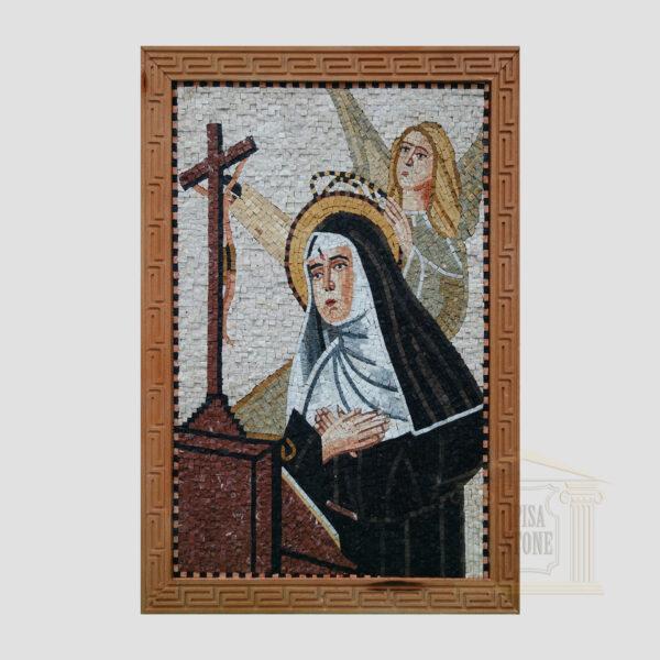 Virgin Mary Praying Marble Stone Mosaic Art