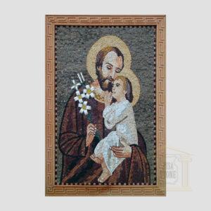 Joseph & Baby Jesus Christ Marble Stone Mosaic Art