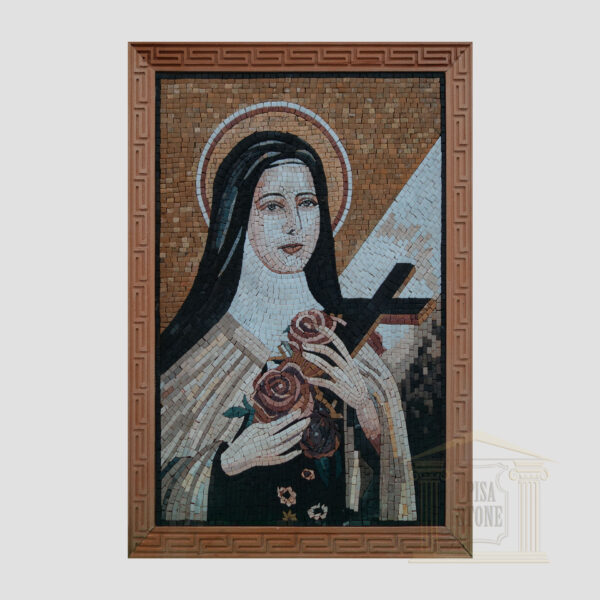 Virgin Mary Carrying the World Cross Marble Stone Mosaic Art