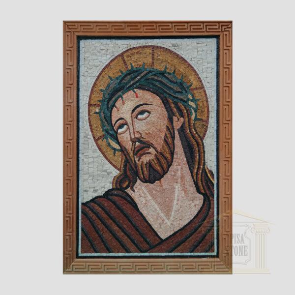 Jesus Christ Red Robe Marble Stone Mosaic Art