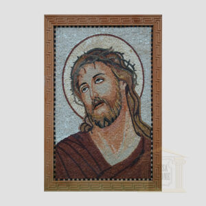 Jesus Christ Red Robe Marble Stone Mosaic Art