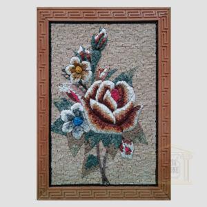 Big Rose bouquet Marble Stone Mosaic Art