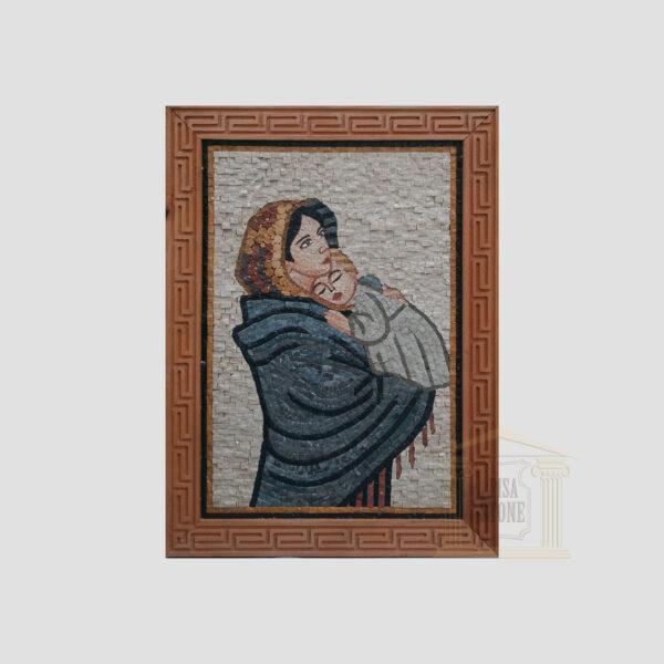 Virgin Mary and Jesus Marble Stone Mosaic Art