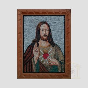 Jesus Christ Sacred Heart Marble Stone Mosaic Art