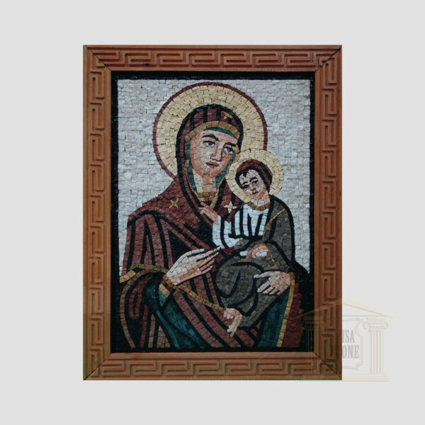 Virgin Mary with her son Jesus Marble Stone Mosaic Art