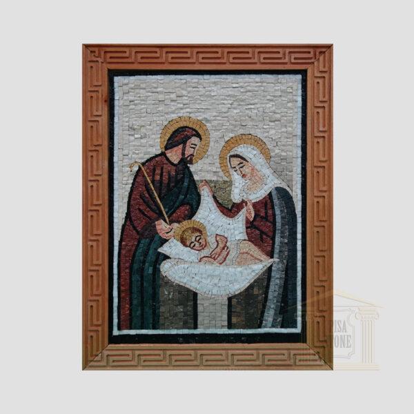 Joseph & Baby Jesus & Virgin Mary Marble Stone Mosaic Art