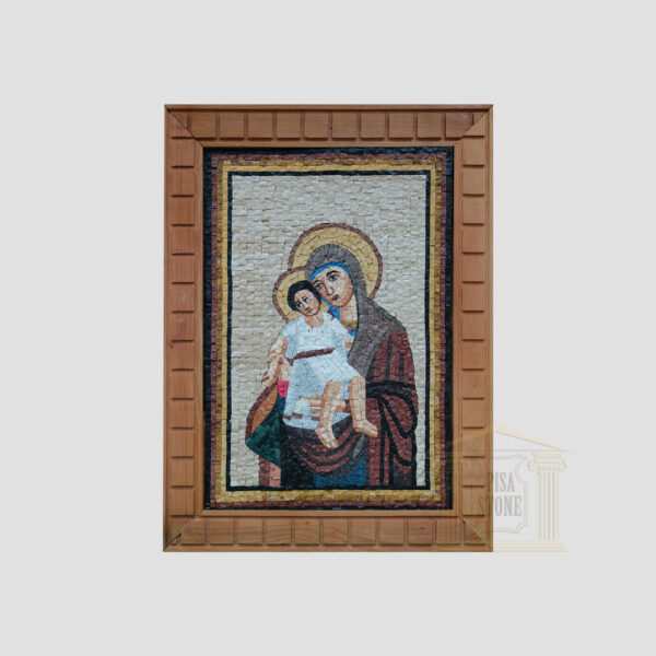 Virgin Mary and Baby Jesus in White Marble Stone Mosaic Art