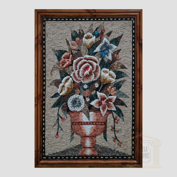 Vase of Flowers Marble Stone Mosaic Art
