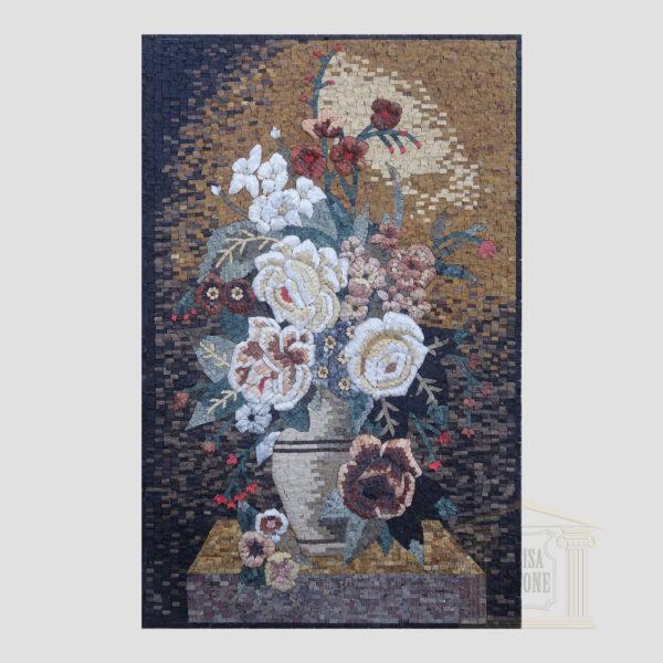 Bright white Flower vase Marble Stone Mosaic Art