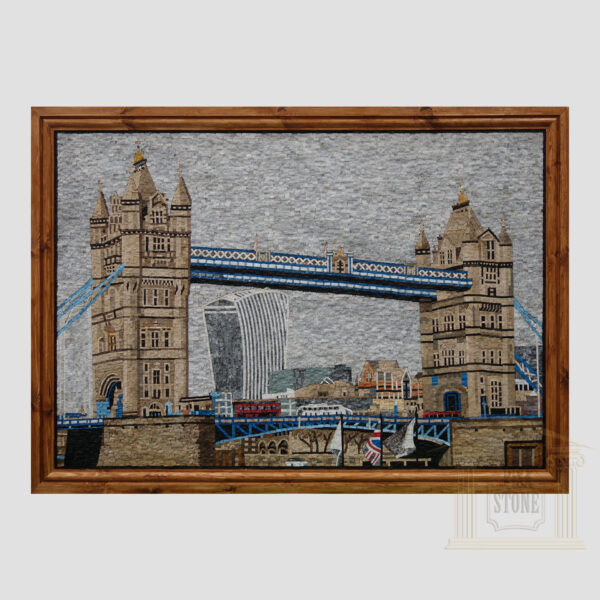 Busy Day on The Tower Bridge Marble Stone Mosaic Art