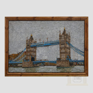 Blue London Tower Bridge Marble Stone Mosaic Art