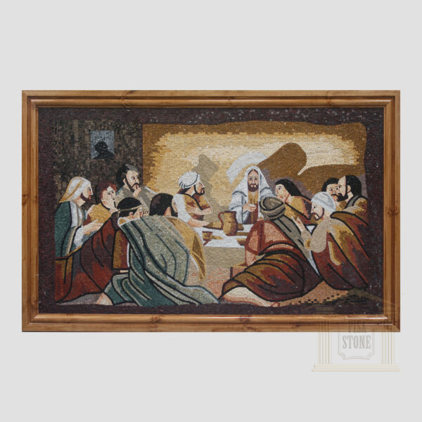 The Last Supper in The Dark Marble Stone Mosaic Art