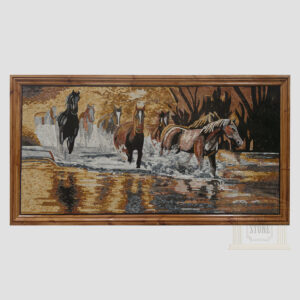 Horses Galloping Through The River Marble Stone Mosaic Art