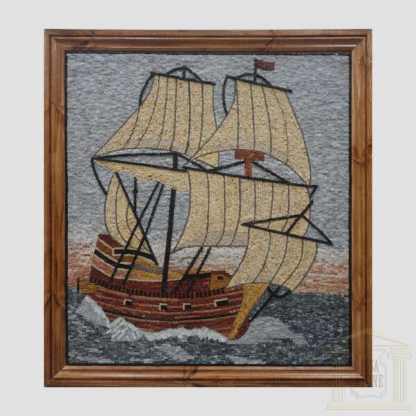Sailing to Nowhere Marble Stone Mosaic Art