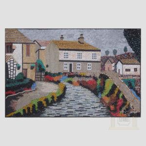The village Marble Stone Mosaic Art