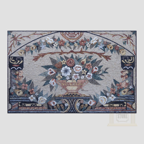 Floral ornament panel Marble Stone Mosaic Art