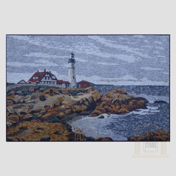 Cape Elizabeth Lighthouse Marble Stone Mosaic Art