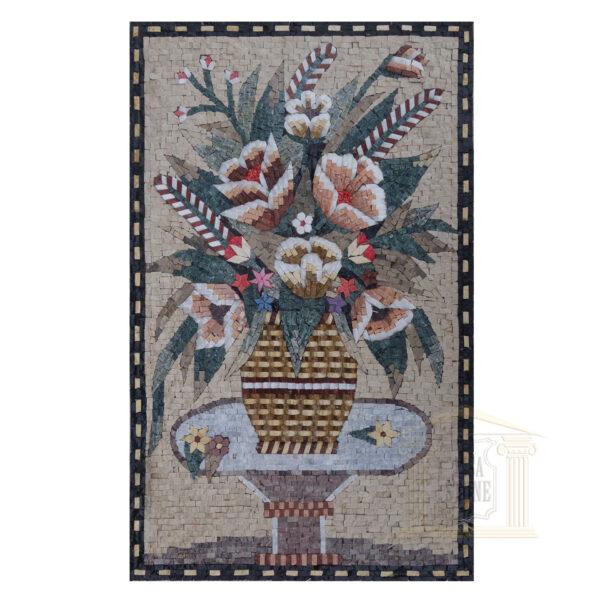 Flower Vase on Table Marble Stone Mosaic Art