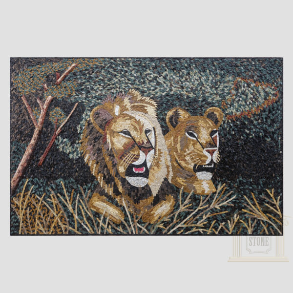 The Lions Marble Stone Mosaic Art