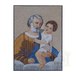Baby Jesus with Joseph Marble Stone Mosaic Art