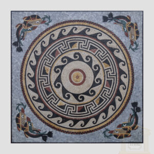 Square Moroccan Dolphin Ornamented Marble Stone Mosaic Art